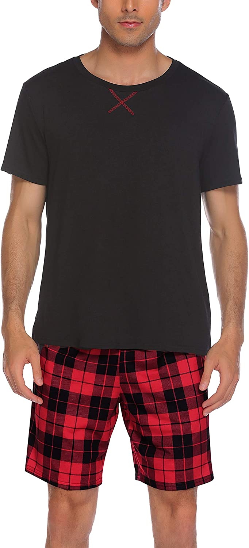 Ekouaer Mens Pajamas Shorts Set Plaid Sleepwear with Pockets Loose Short Sleeve Sleep Loungewear 2 Pieces Summer Pjs