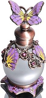 Waltz&F Purple Butterfly Jeweled Vintage Perfume Bottle Empty Refillable Essential Oil Bottle 15ml