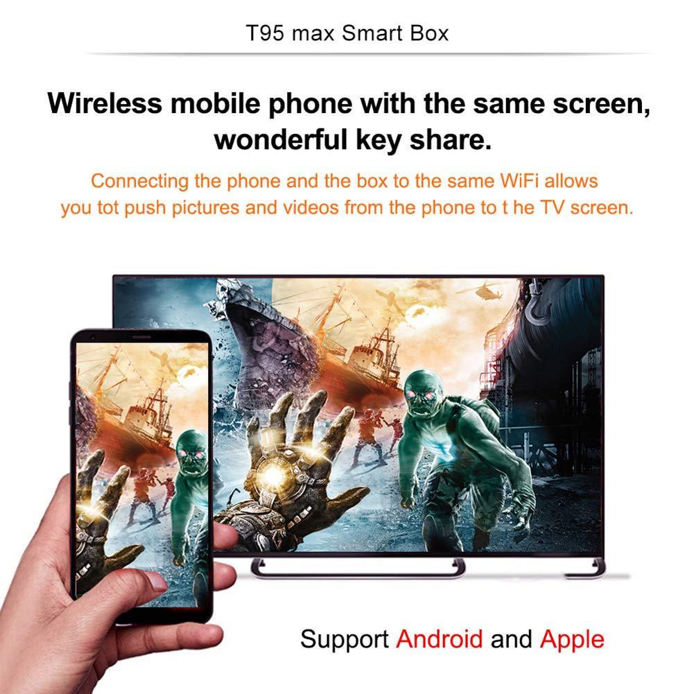 Taurusb T95 MAX Android 9.0 TV Box, Android 9.0 TV Box De 2 GB 16 GB T95 MAX Smart TV Caja Allwinner H6 Quad Core 2.4Ghz WiFi 6K HDR Google Jugador T95MAX