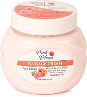 PINK PLUMS Glowing Peach Rose & Mint Massage Cream with Vitamin-E, 250 ml (Pack of 1)