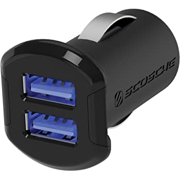 SCOSCHE USBC242M Revolt Universal Multi Device Compact Dual Port USB Car Charger, Black