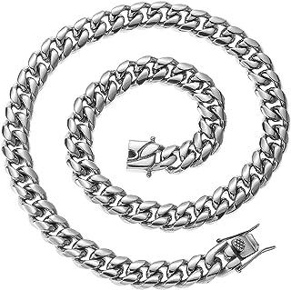 سلسلة وصل كوبية للرجال فضية ثقيلة 316L الفولاذ المقاوم للصدأ التلميع ميامي كوبي سلسلة قلادة للرجال مجوهرات الهيب هوب 16-28...