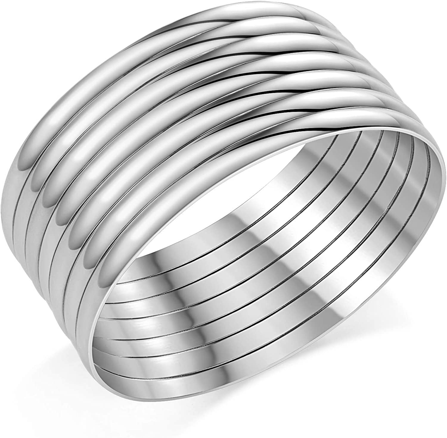 Castillna Stainless Steel Glossy XXL Plus Size Bangle Bracelets Set for Women, Set of 7 Pieces, 9.6 Inches