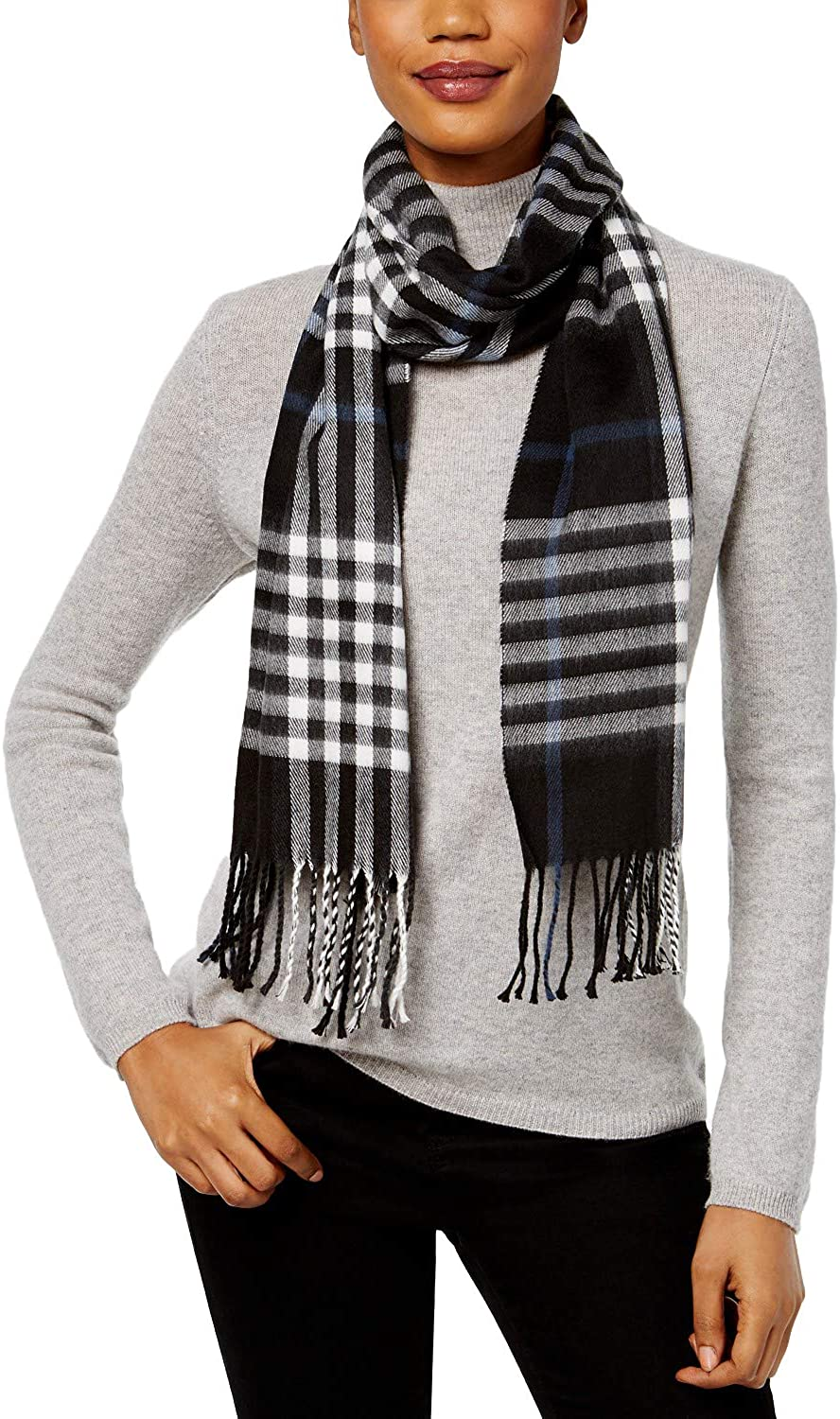 Cejon Women's Tartan Plaid Fringe Scarf, Black, One Size