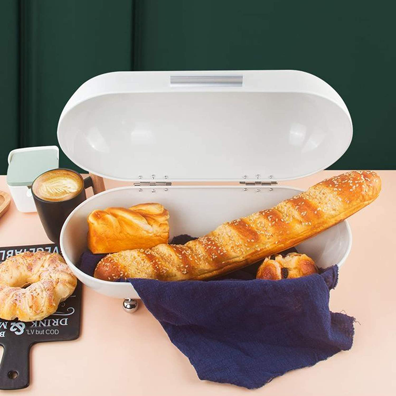 N//A//a Estilo Vintage Pan de Metal Pasteles Tostadas Caja de Almacenamiento contenedor de Alimentos Frutas Juguetes Organizador Cocina Blanco
