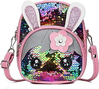 Suillty Girls Glitter Sequins Messenger Backpack Cute Rabbit Ears Crossbody Shoulder Bag for Kids