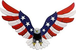 Adroiteet Metal American Flag Bald Eagle Wall Art, 23.6