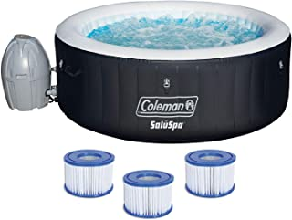 Coleman SaluSpa 71 x 26 Inflatable Spa 4-Person Hot Tub w/ 3 Filter Cartridges