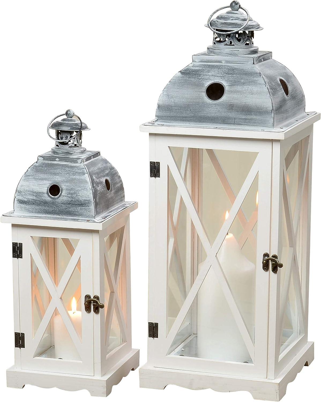 Laterne Tudor S 2 H42-60cm Holz Glas