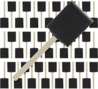 US Art Supply 2 inch Foam Sponge Wood Handle Paint Brush Set (Super Value Pack of 40)..