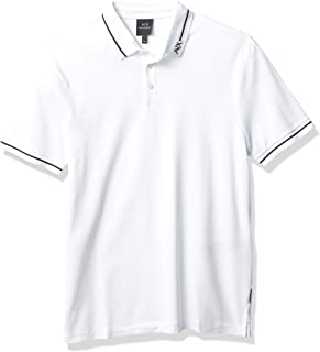 A|X Armani Exchange Men's Logo Collar Pique Polo, White, M