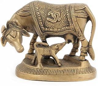 Indianshelf Handmade Brass Kamdhenu Cowcalf Statues Decoration Designer Vintage Statement Pieces Online New