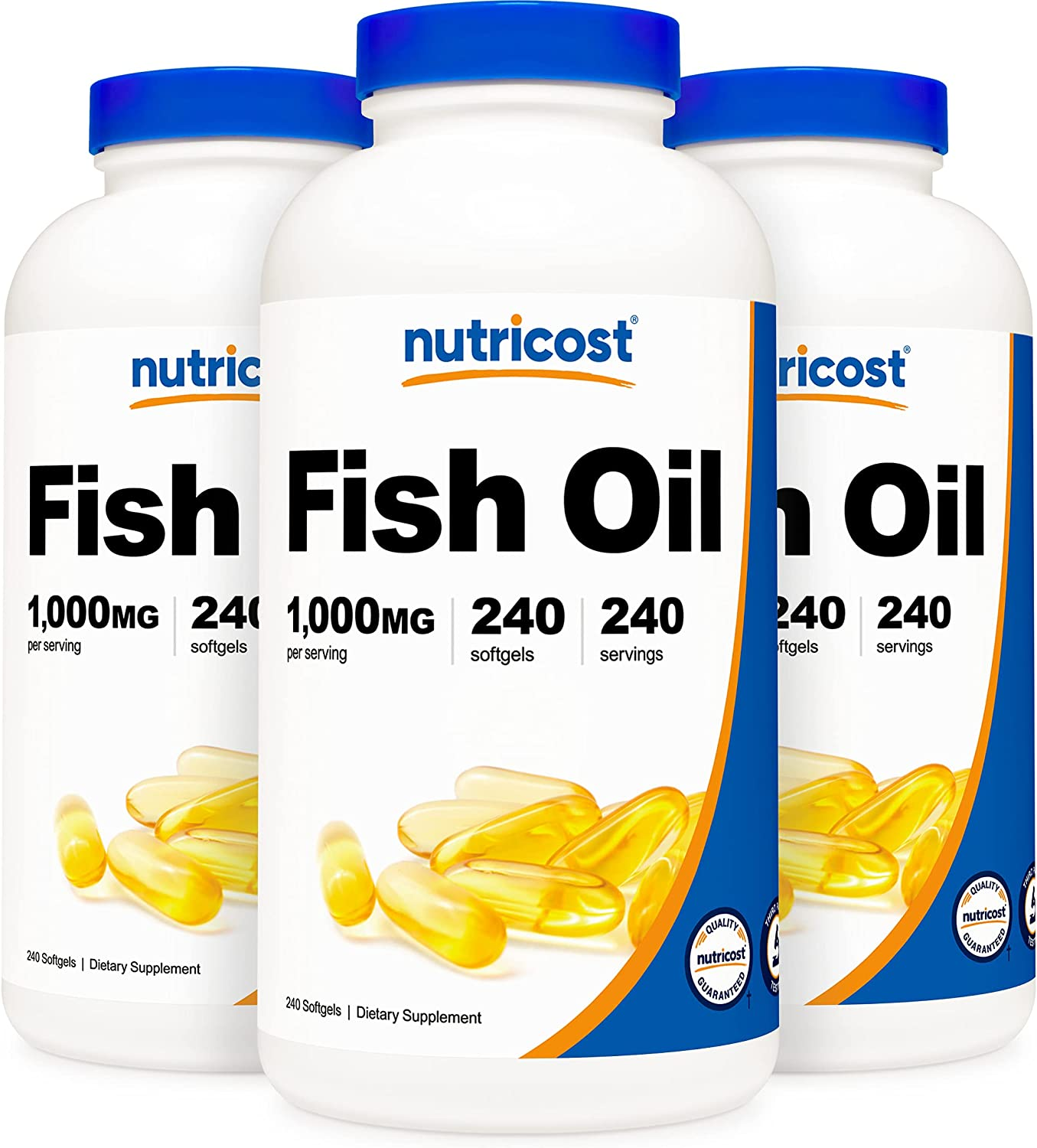 Nutricost Fish Oil 1000mg 600mg Save money New sales of Softgels 240 3 Bo Omega-3