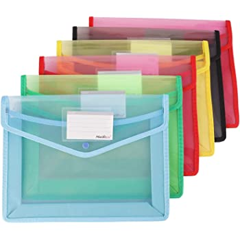 Assorted Color Plastic File Folder Poly Envelopes Expanding File Wallet Document Folder with Snap Closure//Label Pocket 6 Pack A4//Letter Size Waterproof Accordion File Pouch for Office Organization