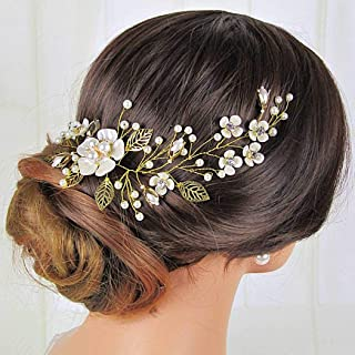 Aukmla Bride Flower Wedding Hair Vine Gold Leaf Bridal Headband Pearls Rhinestones Hair Piece for Women and Girls HV-29