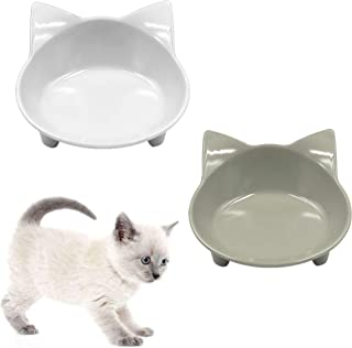 THAIN ペット食器 ペットボウル 猫食器スタンド ペット用食器 かわいい ペットフードボウル猫皿 食べやすい 滑り止め ダブルボウル 猫用食器 猫ボウル 2個セット(グレー+ホワイト)