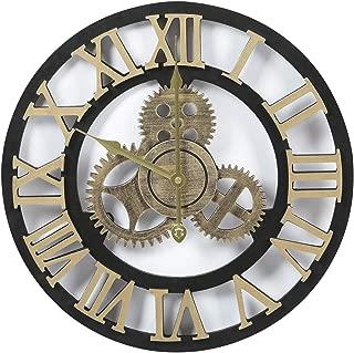 Adeco Clock 3D Retro Rustic Vintage Wooden Gear Noiseless Wall Clock, Wooden Decoration Roman Numerals-Gold, 15