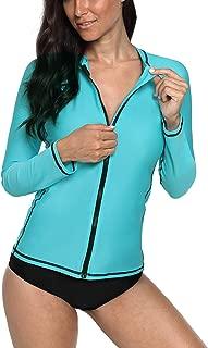 Vegatos 女士拉链*衣长袖防紫外线*衣游泳衬衫运动上衣
