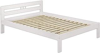 Erst-Holz Lit Adulte en pin Blanc 140x200 Jolie tête de lit y Compris sommier à Lattes en Bois 60.64-14W