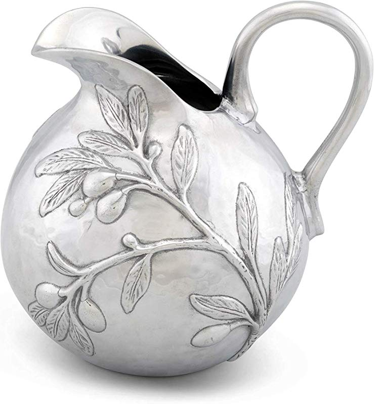Arthur Court Aluminum Olive Tuscan Pattern Table Serving Water Juice Pitcher 100 Oz 9 Tall
