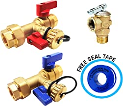 Kahenian 3/4 inch Tankless Water Heater Isolation Service Valve Flush Kit with Pressure Relief Valve, FNPT X FNPT, 3/4