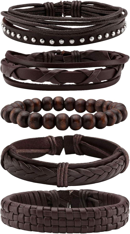 MILAKOO Braided Black Leather Bracelet for Men and Women Wooden Beads Bracelet Adjustable