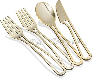 مجموعة ادوات المائدة البلاستيكية الذهبية من 160 قطعة، مجموعة اواني بلاستيكية ذهبية قابلة للاستعمال لمرة واحدة ثقيلة الحجم،...
