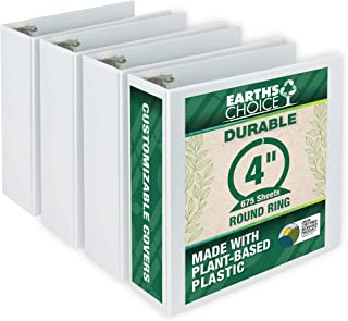 Samsill Earth's Choice 4 Inch Round Ring View Binder, Eco-Friendly and USDA Certified, White, Bulk Binder 4 Pack (MP48997)