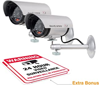 (2 Pack) Dummy Security Camera, Fake Bullet CCTV Surveillance System with Realistic Look Recording LEDs + Bonus Warning Sticker - Indoor/Outdoor Use, for Homes & Business- by Armo
