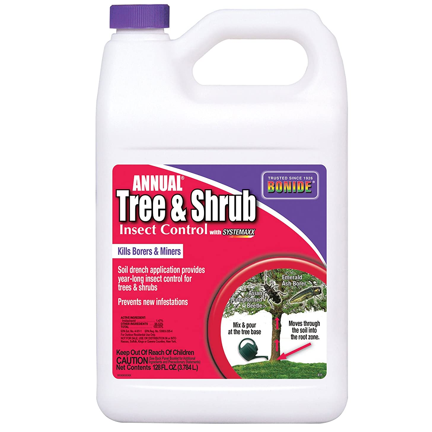 Bonide BND611 Annual_Tree_and_Shrub_Insect_Control Insecticide/Pesticide_Cocentrate, 1_gal, LAWNGARD