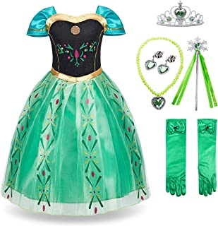 FUNNA Princess Anna Frozen Costume for Toddler Girls Fancy Dress Party