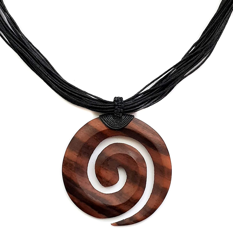 Swimmi Hand Carved Sono Wood Maori Peace Pendant Waxed Cord Tribal Boho Women Men Jewelry Necklace CA080