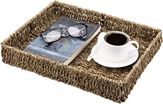 MyGift Handmade Woven Natural Rustic Brown Seagrass Serving Tray, Rectangular Storage Basket