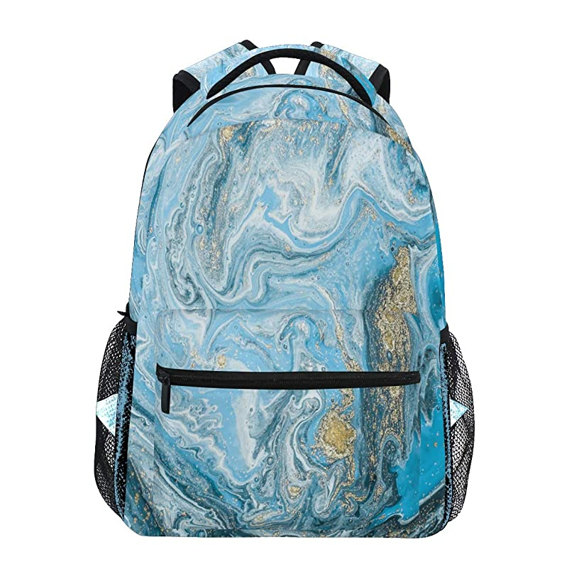 Blue White Marble Liquid Travel Laptop Backpack Daypacks, Stone Texture Water Resistant College School Computer Bag Bookbag for Women & Men Outdoor Camping&Fits Up to 14-inch Notebook
