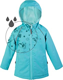Girls Rain Jacket, Lightweight Raincoat with Magic Pattern - Fleece Lined - Pink Purple Aqua - Toddler Kids Youth