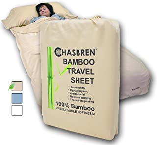 Chasbren Travel Sheet - 100% Bamboo Travel Bedding for Hotel Stays and Other Travels - Soft Comfortable Roomy Lightweight Sleep Sheet, Sack, Bag, Liner - Pillow Pocket, Zippers, Carry Bag