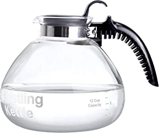 Whistling Borosilicate Glass Tea Kettle BPA Safe With Soft Grip Anti-Hot Handle by Wees Beyond- Stovetop Pot 1.7 QT/1.6 Liters 12 Cup Teapot