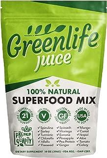 Greenlife Juice 100% Natural Superfood Juice Mix Vegan Green Fruits & Vegetable Powder Drink - 29 Servings (14oz - 396g)