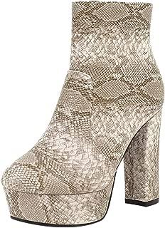 ELEEMEE Women Fashion Chunky Heel Ankle Boots Platform