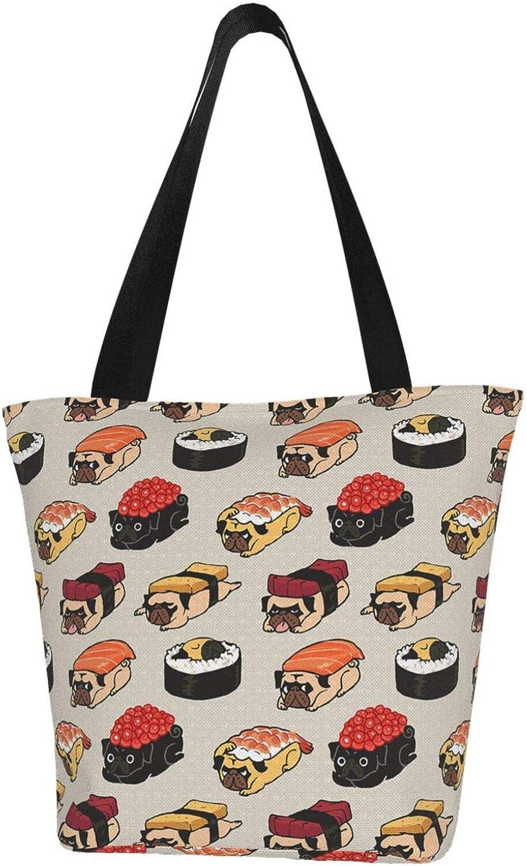 Japanese Sushi Kawaii Cute Dog Pug Themed Printed Women Canvas Handbag Zipper Shoulder Bag Work Booksbag Tote Purse Leisure Hobo Bag For Shopping