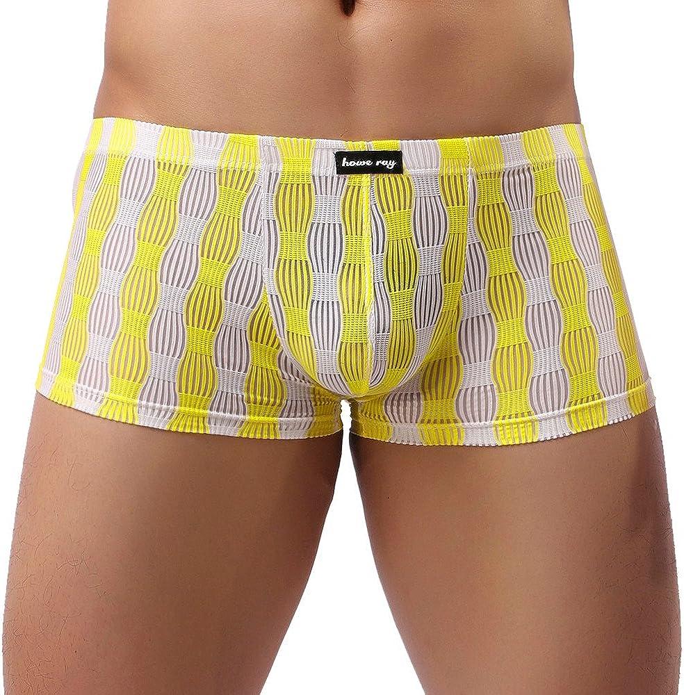 ZEFOTIM Men Underwear Sexy Comfortable Breathable Underpant Nightwear Sleepwear (2XL,Yellow)