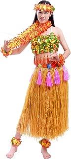 Traje Fiesta Hawaiana Disfraz para Mujer Falda de Luau de Hierba Flores Conjuntos de 8 para Danza Hula