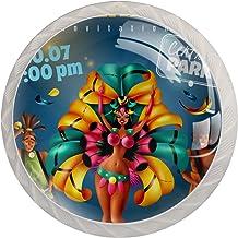 Braziliaanse Jaarlijkse Carnaval Festival Sprankelende Lichten Danser Muzikanten | Knoppen Illustratie Hars Lade Knoppen K...