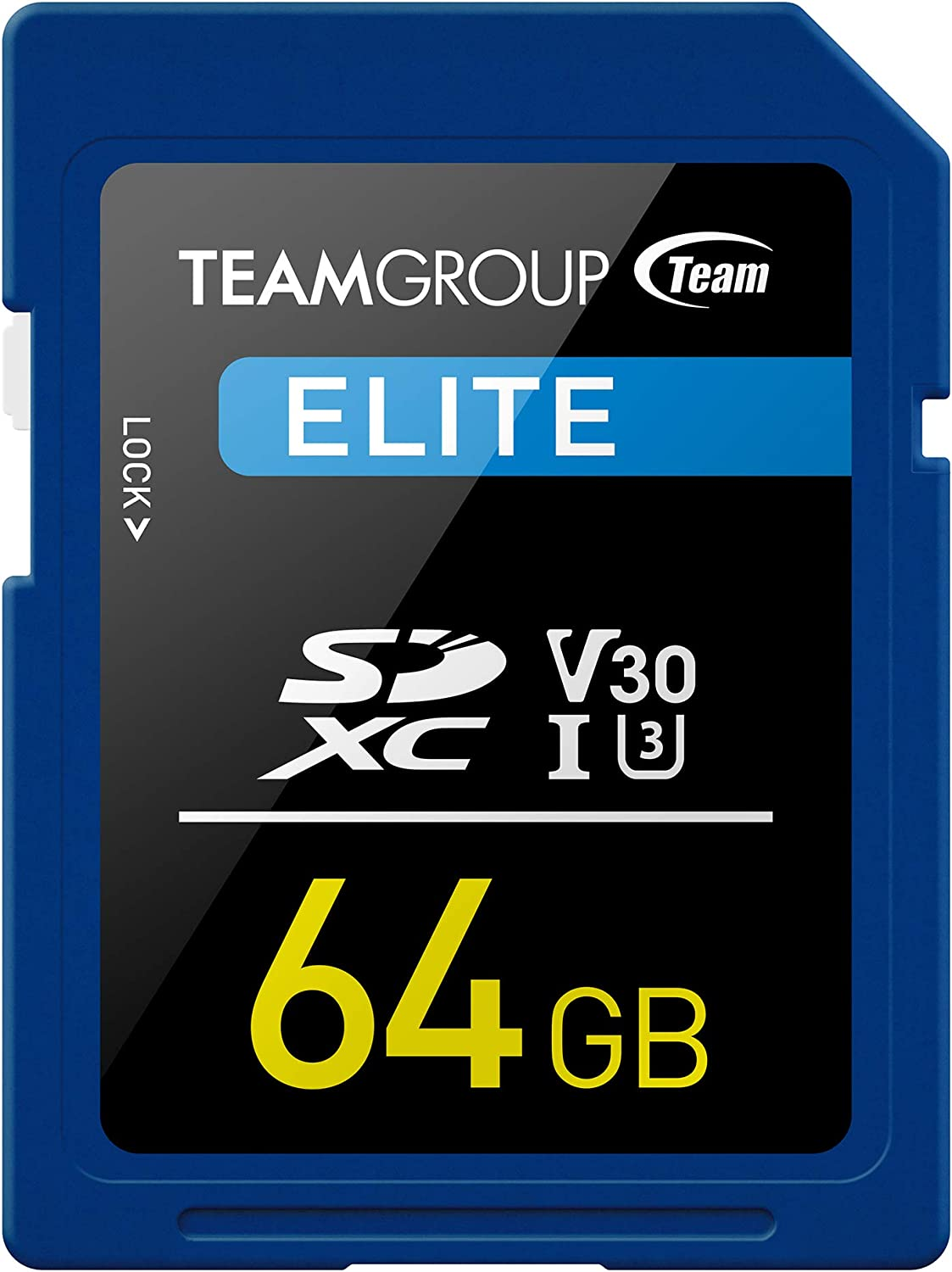 TEAMGROUP Elite 64GB UHS-I/U3 SDXC Memory Card U3 V30 4K UHD Read Speed up to 90MB/s for Professional Vloggers, Filmmakers, Photographers & Content Curators TESDXC64GIV3001