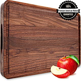 Large Wood Cutting Board Walnut 18x12x1.2 Reversible with Handles and Juice Groove, Thick Butcher Block Chopping Board Carving Cheese Charcuterie Serving Handmade by AtoHom