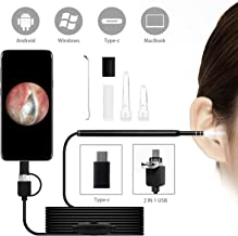 USB Otoscope-Ear Scope Camera, 3-in-1 Digital Led Otoscope, New Upgraded 4.3mm Diameter Visual Ear Camera HD Ear Endoscope with Earwax Cleaning Tool and 6 Adjustable LED Lights for Android/Windows/Mac