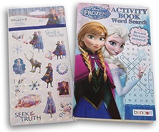Frozen Princess Elsa Anna Activity Word Search Puzzle Book (Pocket-size) & 4 Sticker Sheets Bundle