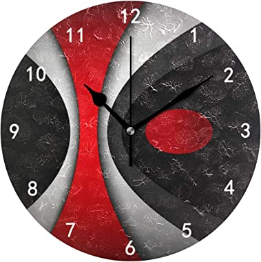 Silent Non Ticking Battery Operated Easy to Read Decorative Modern Abstract Style Red Black Gray White Wall Clock… (ModernClo