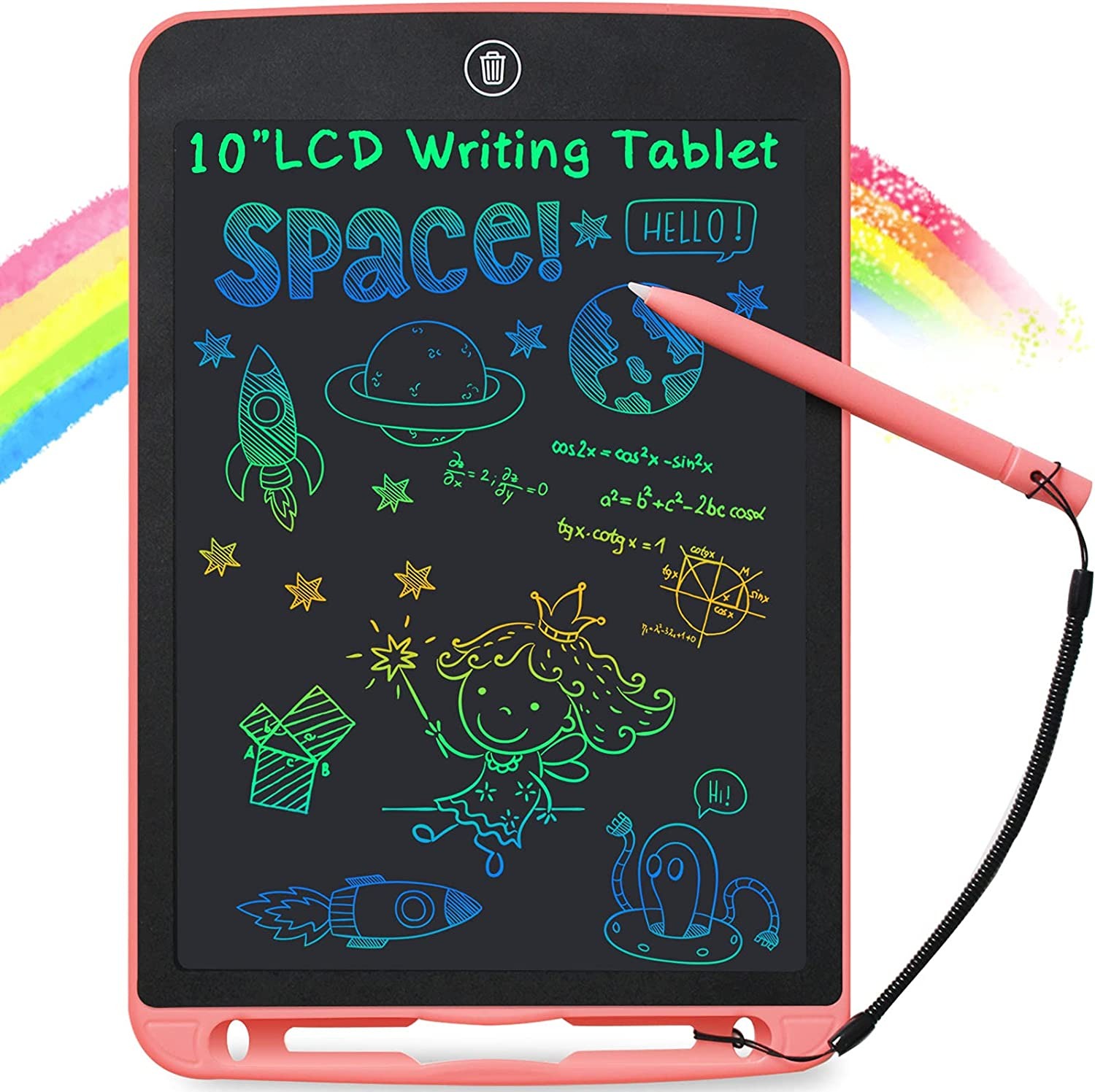 LUOWAN LCD Writing Tablet 10-Inch, Colorful Kids Drawing Pad, Writing Board Electronic Doodle Pad, Toddler Learning Toys for 3 4 5 6 Years Old Boys Girls Birthday Gift