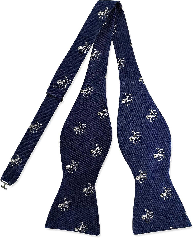 PenSee 100% Silk Bowtie Self Tie Adjustable Octopus Woven Men's Bow Ties